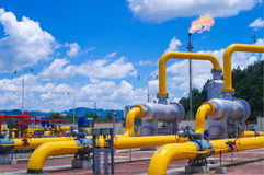 Oil/gas pipeline on fire. Natural gas flame is burning royalty free stock photo