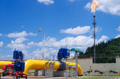 Oil/gas pipeline on fire. Natural gas flame is burning royalty free stock photos
