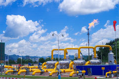 Oil/gas pipeline on fire. Natural gas flame is burning royalty free stock image