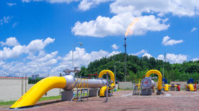 Oil/gas pipeline on fire. Natural gas flame is burning stock images