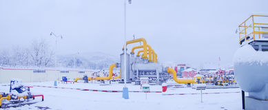 Oil/gas pipeline in sonwing. A heavy snow night, I in the work place, of natural gas pipeline royalty free stock image