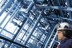 Oil, gas, pipelines and worker Stock Images