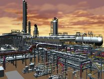 Oil & Gas plant 3D model design. Development in particular project Royalty Free Stock Images
