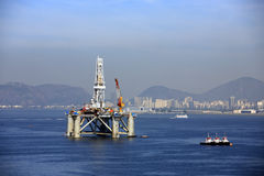 Oil and gas platform. In the bay of rio of janeiro in brazil royalty free stock photography