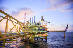 Oil and gas platform or Construction platform in the gulf or the sea, Production process for oil and gas industry Stock Image