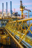 Oil and gas platform or Construction platform in twilight. Stock Photos
