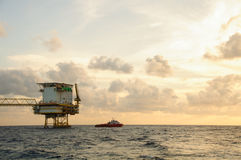Oil and gas platform in the gulf or the sea,  Offshore oil and rig construction, Energy business Stock Images