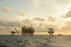 Oil and gas platform in the gulf or the sea,  Offshore oil and rig construction, Energy business.  Stock Image