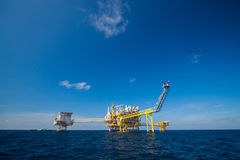 Oil and gas platform in the gulf or the sea, Offshore oil and rig construction Platform. For production oil and gas Royalty Free Stock Photography