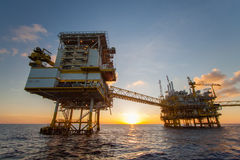 Oil and gas platform in the gulf or the sea, Offshore oil and rig construction Platform. For production oil and gas royalty free stock photo