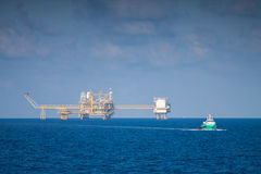 Oil and gas platform in the gulf or the sea, Offshore oil and rig construction Platform. For production oil and gas Royalty Free Stock Images