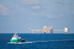 Oil and gas platform in the gulf or the sea, Offshore oil and rig construction Platform. For production oil and gas Stock Image