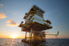 Oil and gas platform in the gulf or the sea, Offshore oil and rig construction Platform Royalty Free Stock Image