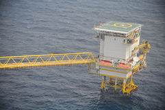 Oil and gas platform in the gulf or the sea, The world energy, Offshore oil and rig construction.  Stock Photography
