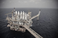 Oil and gas platform in the gulf or the sea, The world energy, Offshore oil and rig construction.  Royalty Free Stock Images