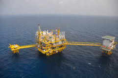 Oil and gas platform in the gulf or the sea, The world energy, Offshore oil and rig construction.  stock photo