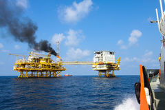 Oil and gas platform in the gulf or the sea, The world energy, Offshore oil and rig construction Stock Image