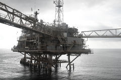 Oil and gas platform in the gulf or the sea, The world energy, Offshore oil and rig construction Royalty Free Stock Photo