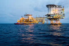 Oil and gas platform in the gulf or the sea, The world energy, Offshore oil and rig construction.  Stock Photos