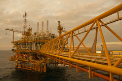 Oil and gas platform in the gulf or the sea Royalty Free Stock Image