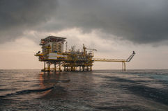 Oil and gas platform in the gulf or the sea Royalty Free Stock Photography