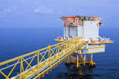 Oil and gas platform in the gulf or the sea, The world energy. Offshore oil and rig construction Royalty Free Stock Photos