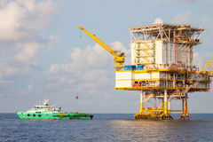 Oil and gas platform in the gulf or the sea, The world energy stock photography