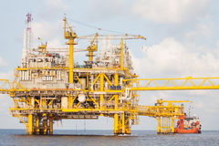 Oil and gas platform in the gulf or the sea, The world energy. Offshore oil and rig construction Royalty Free Stock Photo