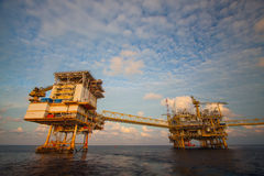 Oil and gas platform in the gulf or the sea, The world energy. Offshore oil and rig construction Royalty Free Stock Image
