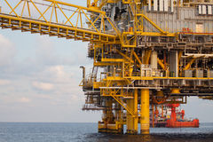 Oil and gas platform in the gulf or the sea, The world energy. Offshore oil and rig construction Stock Photo