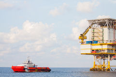 Oil and gas platform in the gulf or the sea, The world energy. Offshore oil and rig construction Stock Photos