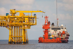 Oil and gas platform in the gulf or the sea. The world energy, Offshore oil and rig construction stock photography