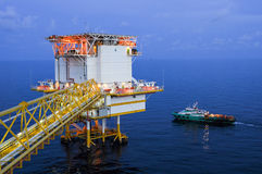 Oil and gas platform in the gulf or the sea, The world energy Royalty Free Stock Photos