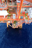 Oil and gas platform in the gulf . Oil and gas platform in the gulf or the sea, The world energy, Offshore oil and rig construction Royalty Free Stock Photos