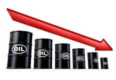 Oil and gas price decline Royalty Free Stock Image