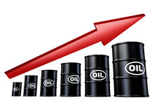 Oil and gas prices up. Oil and gas price hike symbol representing the concept of energy and traditional fossil fuel in barrels and drums for car industries and Stock Image