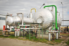 Oil and gas processing plant. On the blue sky stock image