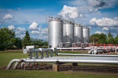 Oil and gas processing plant. With blue sky stock photography