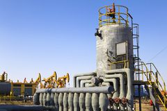 Oil and gas processing plant Royalty Free Stock Photo