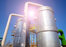 Oil and gas processing plant Royalty Free Stock Images