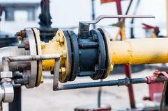 Oil and gas processing plant with pipe line valve or gate Royalty Free Stock Photo