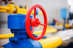 Oil gas processing plant pipe line valves Royalty Free Stock Images