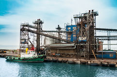Oil and gas processing plant. On the shore of the sea Royalty Free Stock Photography