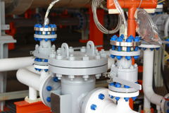Oil and gas processing plant with valves Royalty Free Stock Photos