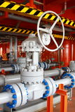 Oil and gas processing plant with valves Stock Photography