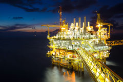 Oil and gas processing platform produced gas and crud oil condensate and sent to onshore refinery. Royalty Free Stock Image