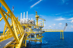 Oil and Gas processing platform,producing gas condensate and water and sent to onshore refinery. Stock Photo
