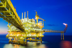 Oil and Gas processing platform,producing gas condensate and water and sent to onshore refinery. Stock Photography