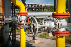 Oil and gas processing valve. With blue sky stock images