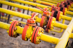 Oil and gas processing valve. With blue sky stock image